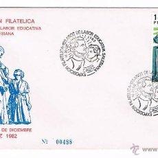 Sellos: SOBRE PRIMER DÍA 100 AÑOS DE LA LABOR EDUCATIVA SALESIANA CÁDIZ 1982 CENTENARIO SALESIANOS ESPAÑA. Lote 51582738