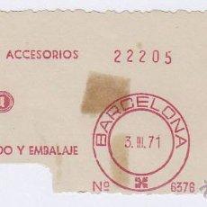 Sellos: FRANQUEO MECÁNICO Nº 6376, METSA, MAQUINARIA TEXTIL Y MAQUINARIA DE EMVASADO Y EMBALAJE (AÑO1971). Lote 51601081
