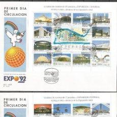 Sellos: ESPAÑA 2 SOBRES PRIMER DIA CIRCULACION EXPO´92 EDIFIL NUM. 3164/3187. Lote 51957252