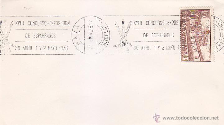 ESPARRAGOS XVIII CONCURSO-EXPOSICION, GAVA (BARCELONA) 1976. RARO MATASELLOS DE RODILLO EN SOBRE. (Sellos - Historia Postal - Sello Español - Sobres Primer Día y Matasellos Especiales)