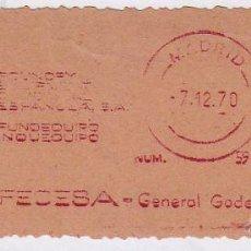 Sellos: FRANQUEO MECÁNICO Nº 5927, FEDESA (AÑO1970). Lote 52159995