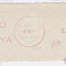Sellos: FRANQUEO MECÁNICO Nº 5922, BANCO DE VIZCAYA. (AÑO1972). Lote 52160124