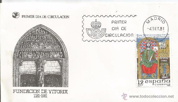 ** AA92 - SOBRE PRIMER DIA DE CIRCULACION - FUNDACION DE VITORIA 1181-1981 (Sellos - Historia Postal - Sello Español - Sobres Primer Día y Matasellos Especiales)