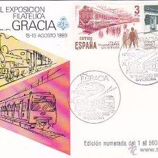 Sellos: TRENES FERROCARRIL XL EXPOSICION FILATELICA DE GRACIA, BARCELONA 1989. MATASELLOS TARJETA ILUSTRADA. Lote 53534325