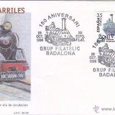 Sellos: TRENES 150 ANIVERSARI FERROCARRIL XII EXPOSICION, BADALONA (BARCELONA) 1998 RARO MATASELLOS EN SOBRE. Lote 53883909