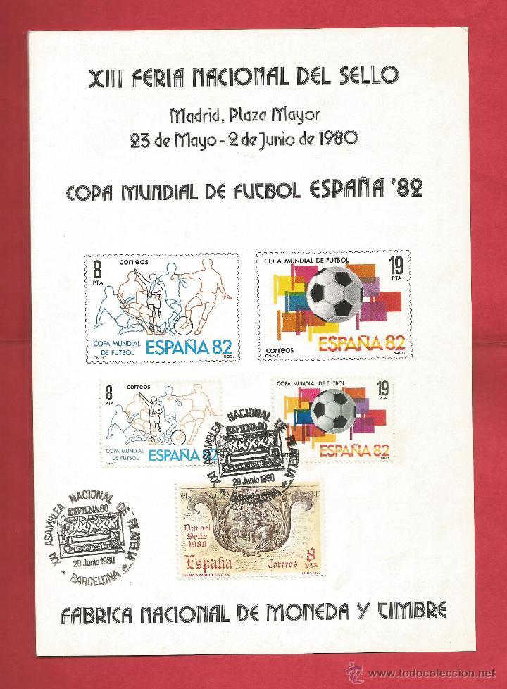 COPA MUNDIAL FUTBOL ESPAÑA 82 FERIA DEL SELLO MADRID 1980 MATASELLO EXFILNA 80 BARCELONA FNMT (Sellos - Historia Postal - Sello Español - Sobres Primer Día y Matasellos Especiales)