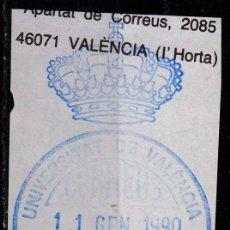 Sellos: FRANQUICIA, VALENCIA: UNIVERSIDAD DE VALENCIA. Lote 54444311