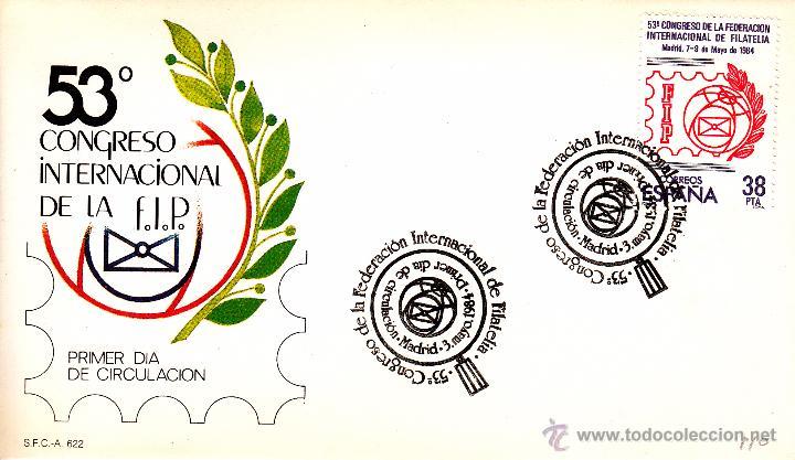 SOBRE: 1984 MADRID. 53 CONGRESO INTERNACIONAL DE LA FEDERACION INTERNACIONAL DE FILATELIA ( FIP) (Sellos - Historia Postal - Sello Español - Sobres Primer Día y Matasellos Especiales)