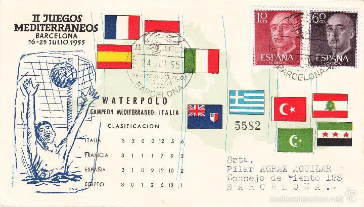 MATASELLOS-DEPORTE - WATERPOLO -- II JUEGOS MEDITERRÁNEOS -BARCELONA- ---1955---- (Sellos - Historia Postal - Sello Español - Sobres Primer Día y Matasellos Especiales)