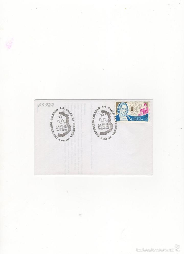 SOBRE. CENTENARIO COLEGIO LA SALLE, LA FELGUERA, 2002. (Sellos - Historia Postal - Sello Español - Sobres Primer Día y Matasellos Especiales)