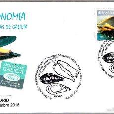 Sellos: MATASELLOS PRIMER DIA GASTRONOMIA - D.O. PROTEGIDAS DE GALICIA. MEJILLON. MADRID 2015. Lote 55792899