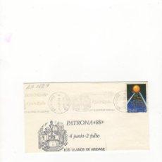Sellos: SOBRE. PATRONA 88, LOS LLANOS DE ARIDANE, TENERIFE, 1988.. Lote 56096653