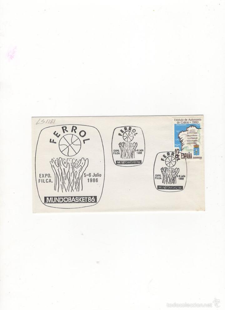 SOBRE. EXPO. FILCA, FERROL ,MUNDOBASKET 86, GALICIA, 1980. (Sellos - Historia Postal - Sello Español - Sobres Primer Día y Matasellos Especiales)