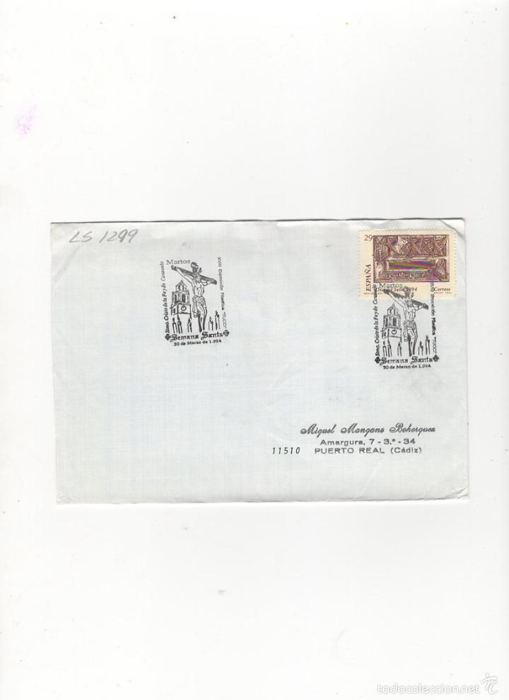 SOBRE. STMO. CRISTO DE LA FE Y CONSUELO, XVIII EXPO.FILAT.´´TUCCI´´, MARTOS, 1994. (Sellos - Historia Postal - Sello Español - Sobres Primer Día y Matasellos Especiales)