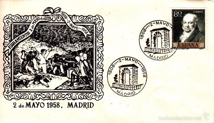 SOBRE: 1958 MADRID. FUSILAMIENTOS 2 DE MAYO DE GOYA (Sellos - Historia Postal - Sello Español - Sobres Primer Día y Matasellos Especiales)