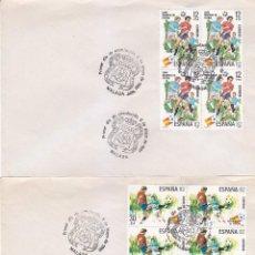 Sellos: FUTBOL 1981 COPA MUNDIAL ESPAÑA 82 (EDIFIL 2613/14 BLOQUE DE CUATRO) DOS SPD MATASELLOS MALAGA. GMPM. Lote 56555838