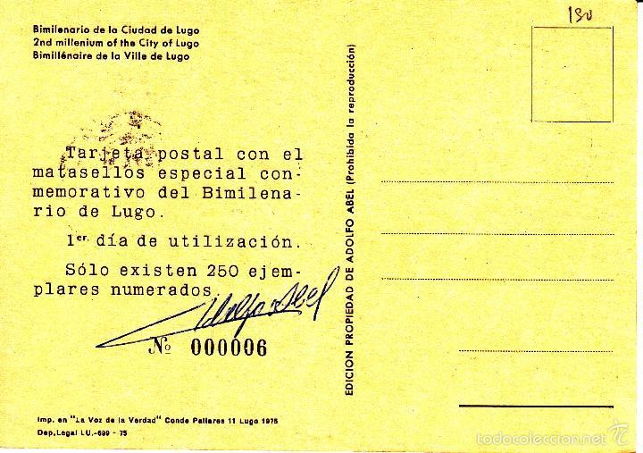 Sellos: TARJETA: 1975 LUGO. BIMILENARIO DE LA CIUDAD DE LUCO - EJEMPLAR Nº 6 - Foto 2 - 57294648