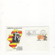 Sellos: SOBRE PRIMER DIA DE CIRCULACION, ESTATUTO DE AUTONOMIA DE ARAGON, MADRID, 1984.. Lote 57484400