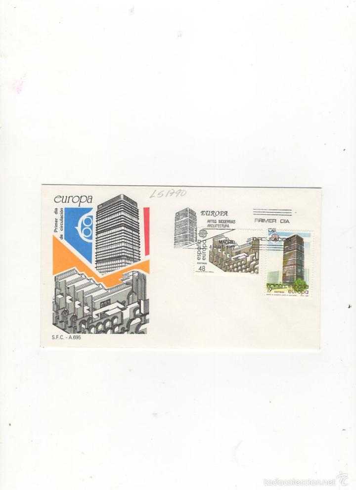 SOBRE PRIMER DIA DE CIRCULACION, EUROPA, ARTES MODERNAS, ARQUITECTURA, MADRID, 1987. (Sellos - Historia Postal - Sello Español - Sobres Primer Día y Matasellos Especiales)