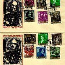Sellos - ESPAÑA 1959- EDI 1238/1247 (Serie: Velazquez) en dos sobres PD del SFC - 57549391
