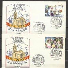 Sellos: 3 SOBRES EXPOSICIÓ FILATELICA NUMISMATICA VALL DE BOI LLEIDA 1984 EXPOSICIÓN FILATELICA,MIRALCAMP. .. Lote 57912785