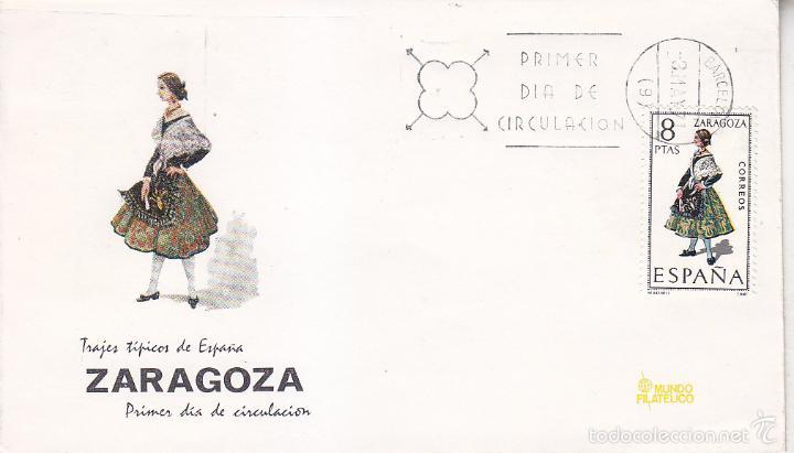 TRAJES TIPICOS ESPAÑOLES 1971 TRAJE DE ZARAGOZA (EDIFIL 2018) EN SPD DE MF MATASELLOS BARCELONA. (Sellos - Historia Postal - Sello Español - Sobres Primer Día y Matasellos Especiales)