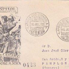 Sellos: SAHARA FERNANDO EL CATOLICO V CENTENARIO 1952 (EDIFIL 97) EN SPD CIRCULADO DEL SERVICIO FILATELICO.. Lote 60112879