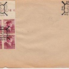 Sellos: MATASELLOS ESPECIAL DIA DEL SELLO REUS -1946 - CON BLOQUE DE CUATRO DEL NUM. 1002. Lote 60800323