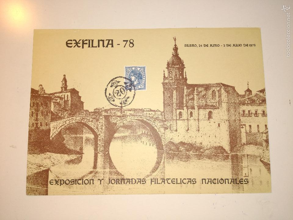 HOJA RECUERDO EXFILNA 78 (BILBAO) CON SELLO Y MATASELLOS CORRESPONDIENTE (Sellos - Historia Postal - Sello Español - Sobres Primer Día y Matasellos Especiales)