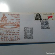 Sellos: SOBRE CON SELLOS Y MATASELLOS. CENTENARIO PLAZA DE TOROS 1903-2003. EIBAR. Lote 62067440