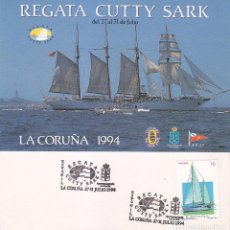 BARCOS REGATA CUTTY SARK GRANDES VELEROS EXPOFIL, LA CORUÑA 1994. RARO MATASELLOS EN TARJETA MOD 3.
