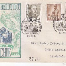 Sellos: RELIGION MISTERIO DE ELCHE (ALICANTE) 1955. RARO MATASELLOS EN SOBRE CIRCULADO DE EG. LLEGADA.. Lote 62516184