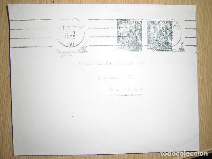 DOS SOBRES CON MATASELLOS Y SELLOS 1955 (Sellos - Historia Postal - Sello Español - Sobres Primer Día y Matasellos Especiales)