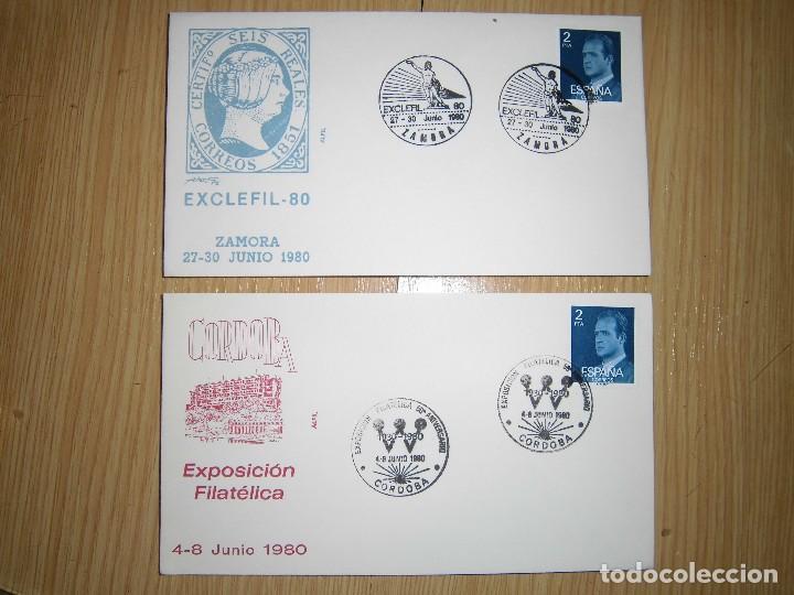 SOBRES CON MATASELLOS Y SELLOS 1980, 1956, 1984 (Sellos - Historia Postal - Sello Español - Sobres Primer Día y Matasellos Especiales)