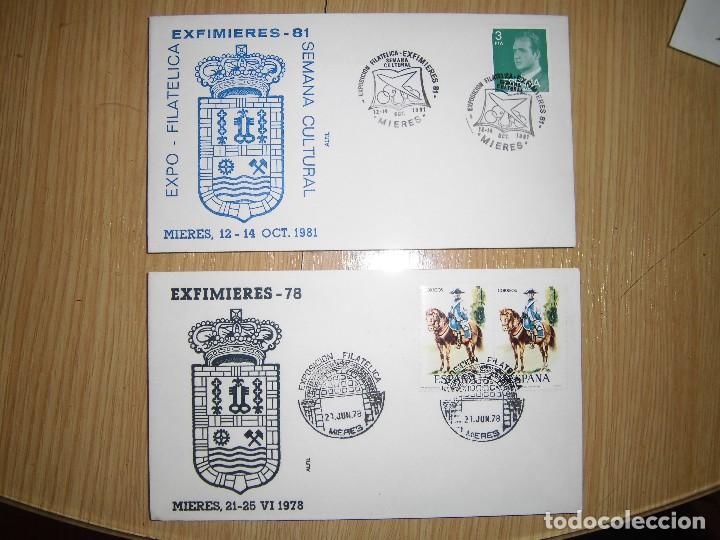 DOS SOBRES CON MATASELLOS Y SELLOS 1978, 1981 (Sellos - Historia Postal - Sello Español - Sobres Primer Día y Matasellos Especiales)