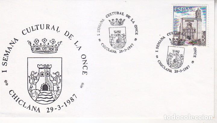 ONCE I SEMANA CULTURAL, CHICLANA (CADIZ) 1987. MATASELLOS EN SOBRE ILUSTRADO ESCUDO. HERALDICA. (Sellos - Historia Postal - Sello Español - Sobres Primer Día y Matasellos Especiales)