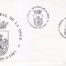 Sellos: ONCE I SEMANA CULTURAL, CHICLANA (CADIZ) 1987. MATASELLOS EN SOBRE ILUSTRADO ESCUDO. HERALDICA.. Lote 63103024
