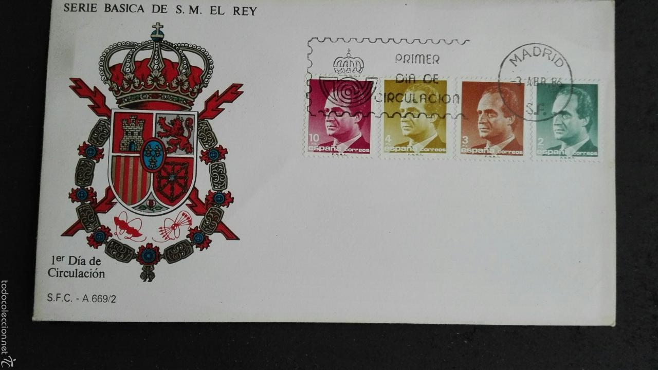 SOBRE PRIMER DÍA SERIE BÁSICA DEL REY (Sellos - Historia Postal - Sello Español - Sobres Primer Día y Matasellos Especiales)