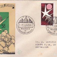 Sellos: EXPOSICION DE BRUSELAS 1958 (EDIFIL 1220/21) EN SPD CIRCULADO DEL SERVICIO FILATELICO. MUY RARO ASI.. Lote 63644267