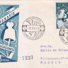 Sellos: I CENTENARIO DEL TELEGRAFO 1955 (EDIFIL 1180/81) EN SPD CIRCULADO DEL SERVICIO FILATELICO. RARO ASI.. Lote 64359267