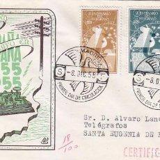 Sellos: I CENTENARIO DEL TELEGRAFO 1955 (EDIFIL 1180/82) EN SOBRE PRIMER DIA CIRCULADO DP. BONITO Y RARO ASI. Lote 64359539