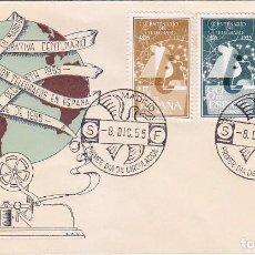 Sellos: I CENTENARIO DEL TELEGRAFO 1955 (EDIFIL 1180/82) EN SOBRE PRIMER DIA DE ALFIL. BONITO Y RARO ASI. Lote 64359671