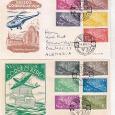 Sellos: AVION SUPERCONSTELLATION Y NAO SANTA MARIA 1955-1956 (EDIFIL 1169/79) EN DOS SPD ILUSTRADOS. RAROS.. Lote 64362779