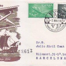 Sellos: AVION SUPERCONSTELLATION Y NAO SANTA MARIA 1956 (EDIFIL 1169-73) SPD CIRCULADO SERVICIO FILATELICO.. Lote 21861374
