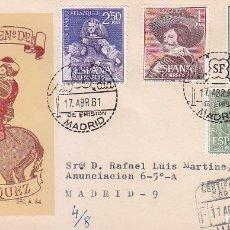 Sellos: PINTURA VELAZQUEZ III CENTENARIO 1961 (EDIFIL 1340/43) EN SPD CIRCULADO SERVICIO FILATELICO MUY RARO. Lote 68063393