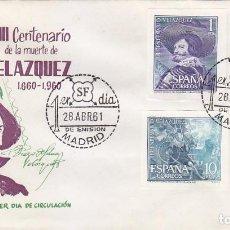 Sellos: PINTURA VELAZQUEZ III CENTENARIO 1961 (EDIFIL SH 1344/47) EN SOBRE PRIMER DIA DE ALONSO. RARO ASI.. Lote 68068897