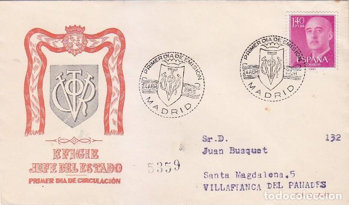 GENERAL FRANCO 1955-1956 (EDIFIL 1154) EN SPD CIRCULADO DEL SERVICIO FILATELICO. RARO ASI. (Sellos - Historia Postal - Sello Español - Sobres Primer Día y Matasellos Especiales)