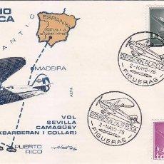 Sellos: AVION SUPERCONSTELLATION Y NAO SANTA MARIA (EDIFIL 1169-1178) SOBRE MATASELLOS VUELO FIGUERAS 1976.. Lote 69111685