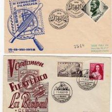 Sellos: LOTE 2 MATASELLOS DE LA BISBAL -GIRONA 1958-1959. Lote 69632185