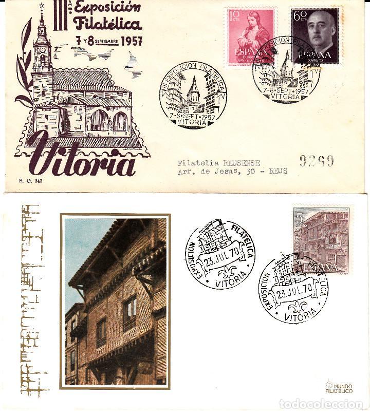LOTE 2 MATASELLOS DE VITORIA 1957-1970 (Sellos - Historia Postal - Sello Español - Sobres Primer Día y Matasellos Especiales)